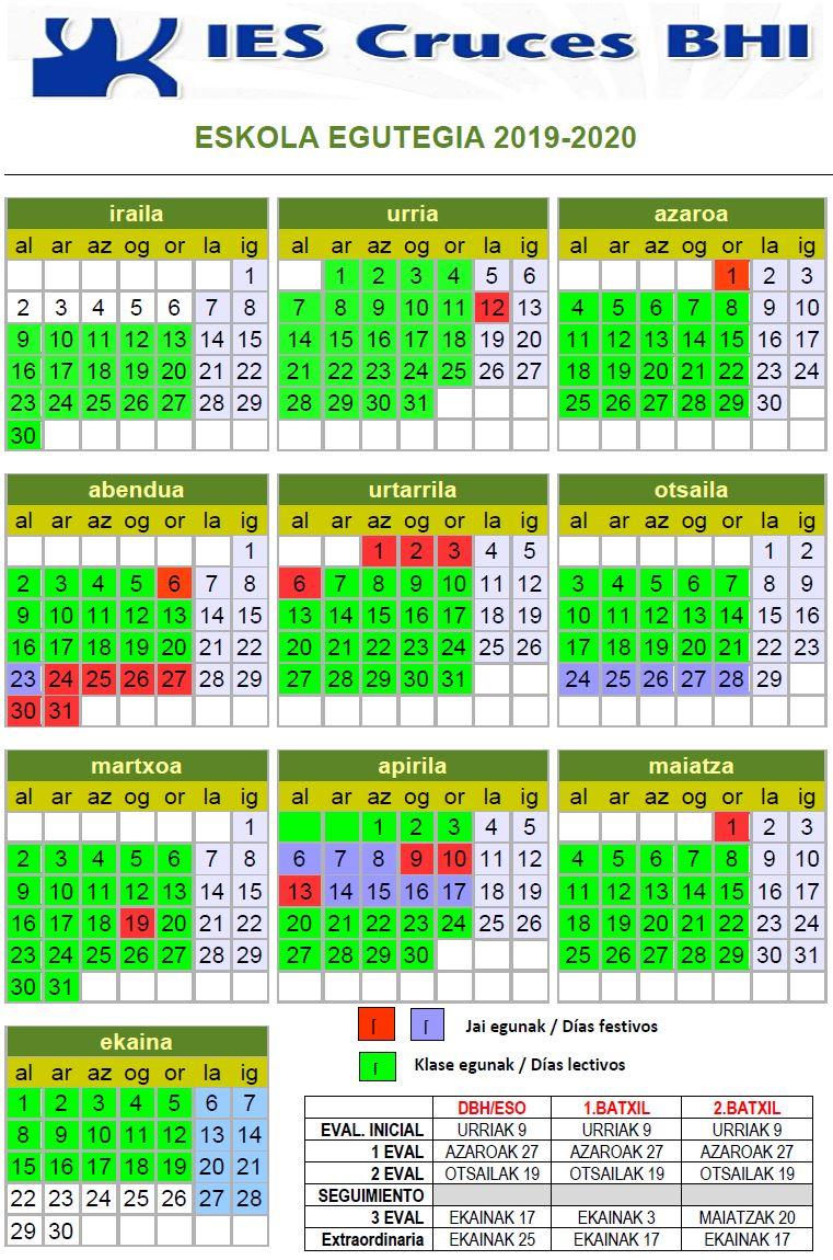 Calendario Acb 2020 16.Faaqidaad Calendario Escolar 2019 Vizcaya